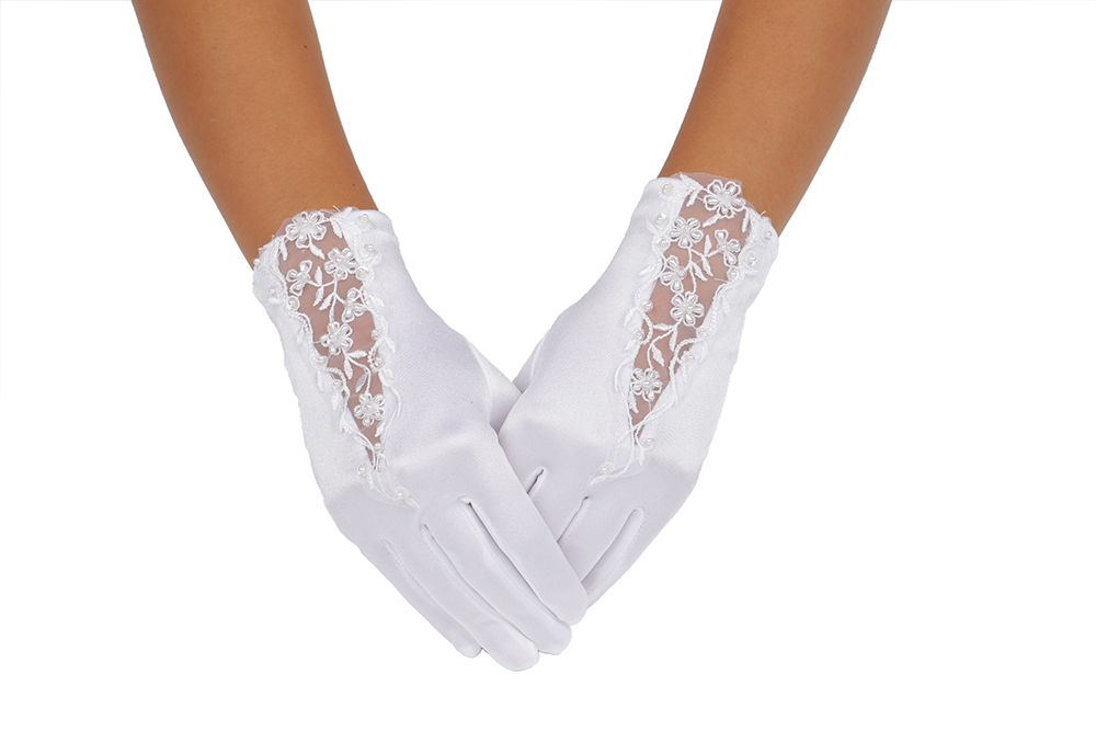 Short White Lace Flower Embroidered Wedding Gloves 2BL