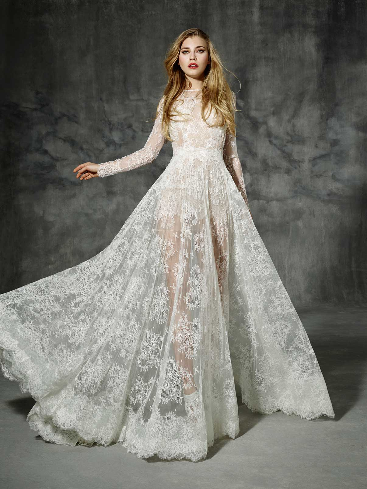 Long Sleeved A-line Ivory Wedding Dress