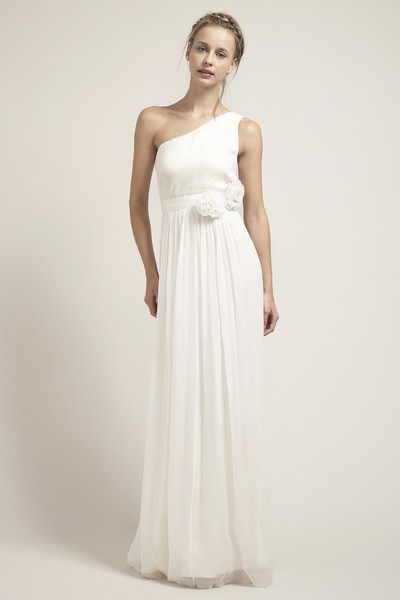 Sleeveless One Shoulder Long Chiffon Wedding Dress with Flowers