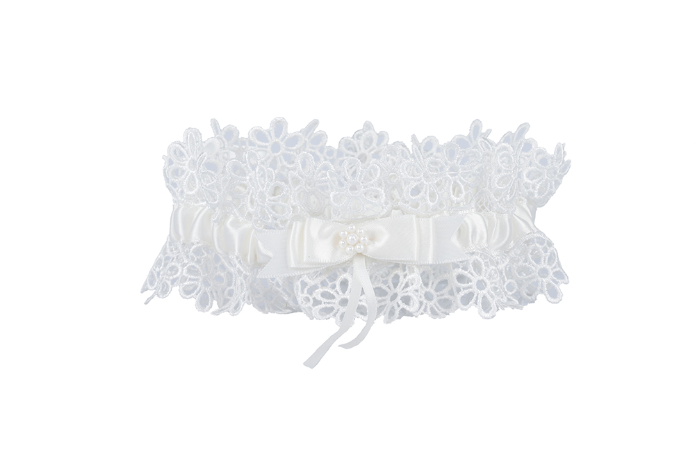 Exquisite Daimond Embroiderd Ivory Wedding Garter With Butterfly Knot 34*66CM