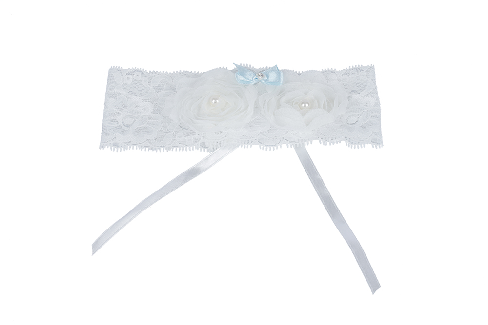 Delicate Pearl And Embroider White and Blue Wedding Garter 34*52CM