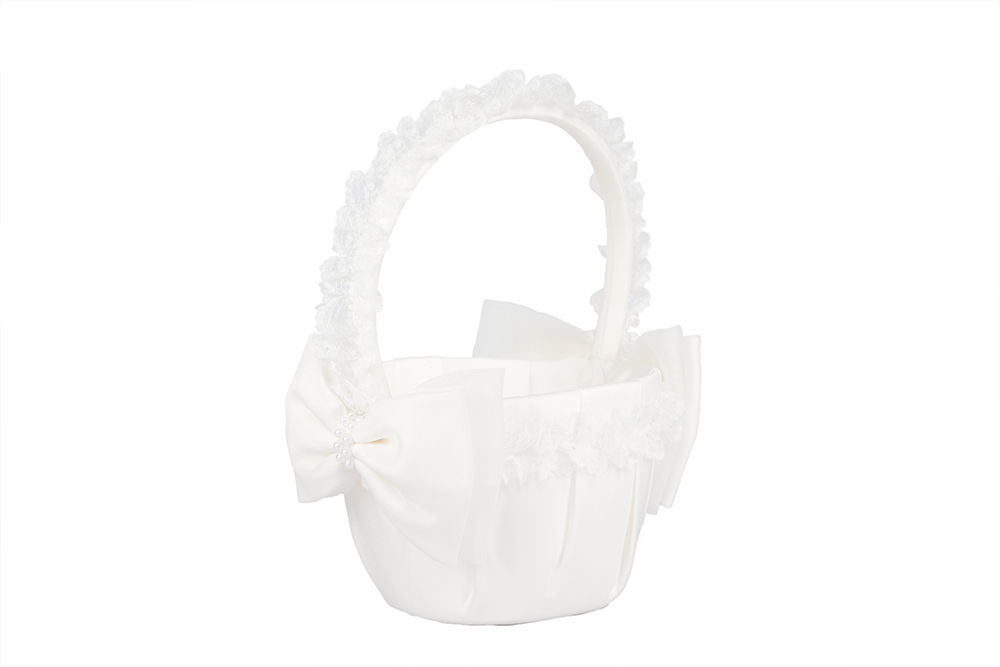Wonderful Ivory Pearl Butterfly Knot Lace Trimmed Wedding Flower Girl Baskets 14.5*22.5CM