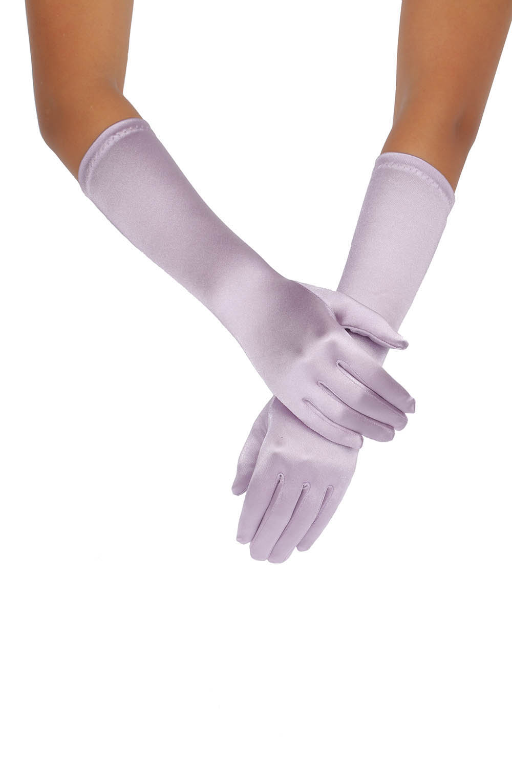 Elegent Long Pink Purple Strentch Satin Wedding Gloves 38CM