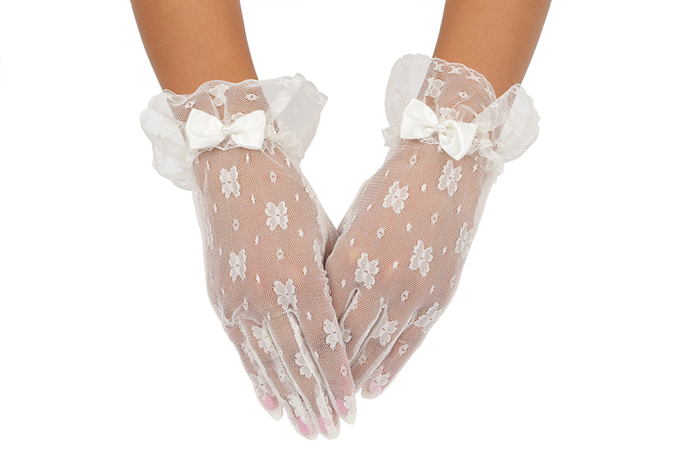 Short Tulle Ivory Pearl Flower Embroider Butterfly Knot Wedding Gloves 2BL