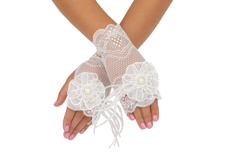 Short Fingerless Feather Pearl Bridal Gloves With Embroider 2BL