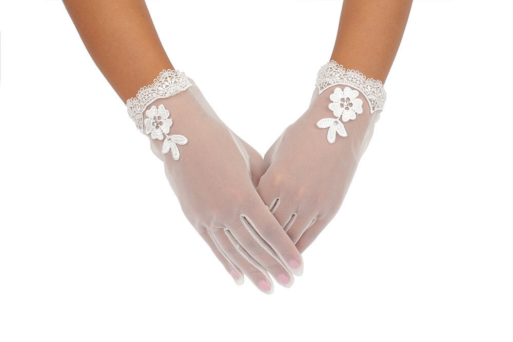 Full Finger Daimond Embroider Ivory Tulle Wedding Gloves 2BL