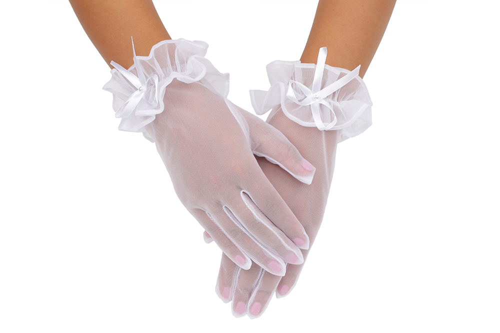 Beautiful Full Pearl Embroider Tulle Short Girl Gloves With Butterfly Knot 2BL
