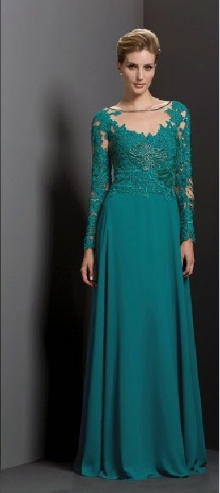Teal Green Illusion Neck Long A-line Chiffon Mother of the Bride Dress