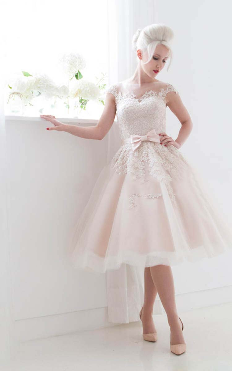 Charming Illusion Neck Cap Sleeved Ball Gown Blush Pink Tulle Wedding Dress