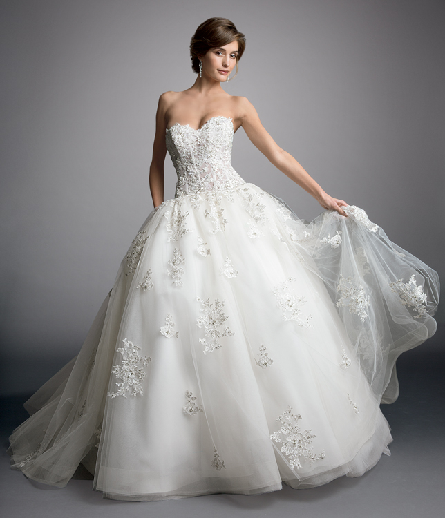 Charming Ball Gown Lace Beaded Sweep/Brush Train Tulle Wedding Dress