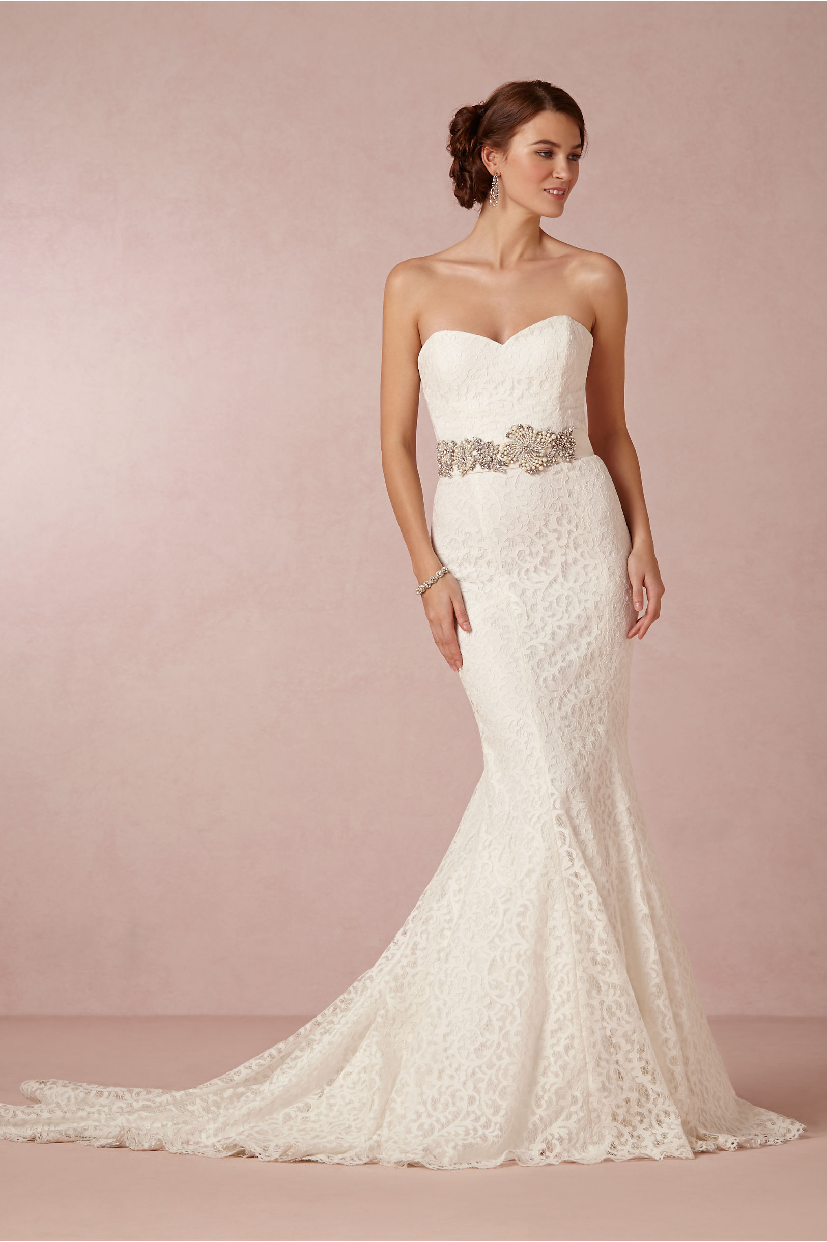 Vintage Strapless Sweetheart Crystal Waist Mermaid Lace Wedding Dress