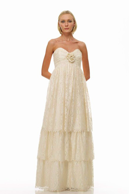 3 Tiered Lace Wedding Dress : Strapless sweetheart empire waist three tiered lace
