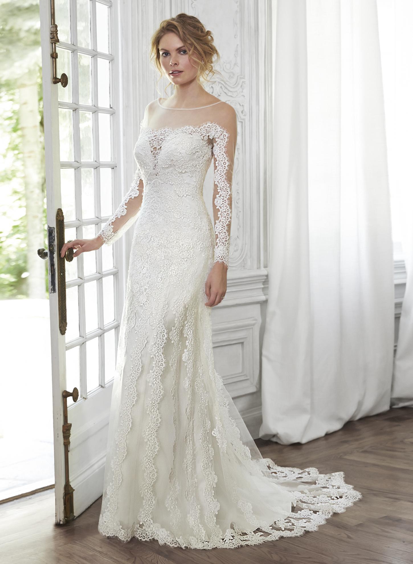 V Neck Long Sleeved Lace Patterns Sheath Wedding Dress