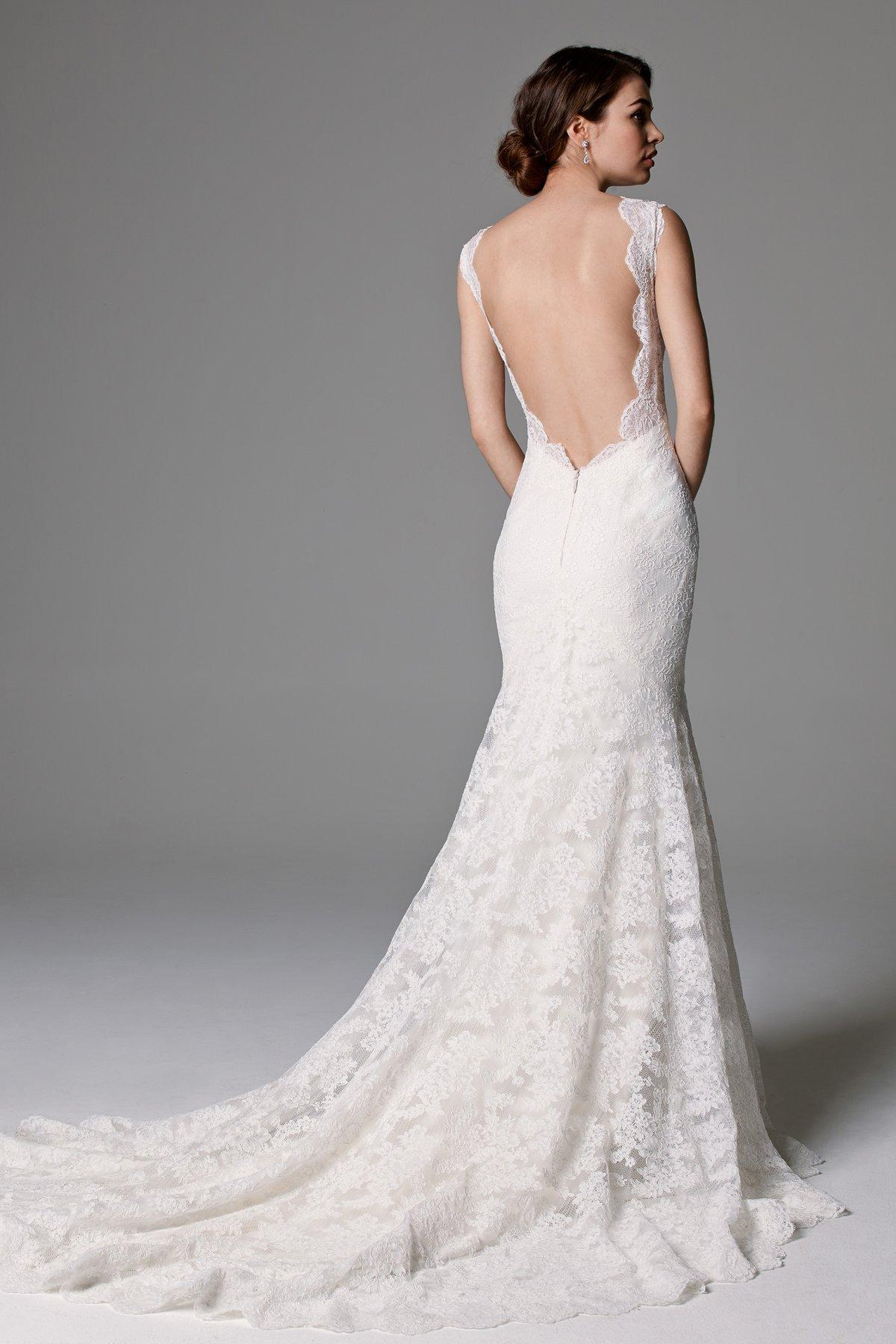 Exquisite V Neck Mermaid Lace Patterns Weddin Dress with