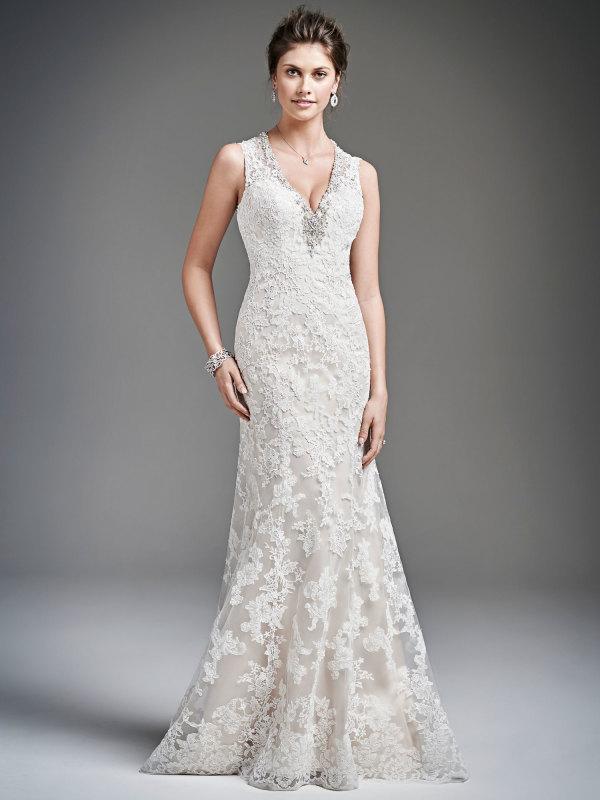 Sheath Wedding Gown Pattern : Chic v neck crystal detailling sheath lace patterns wedding dress