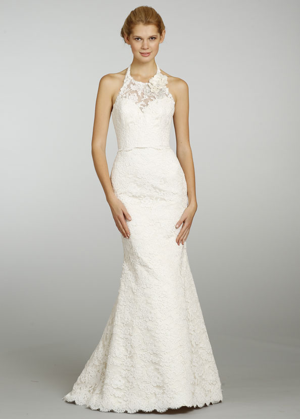 Wedding dresses: halter lace wedding dress