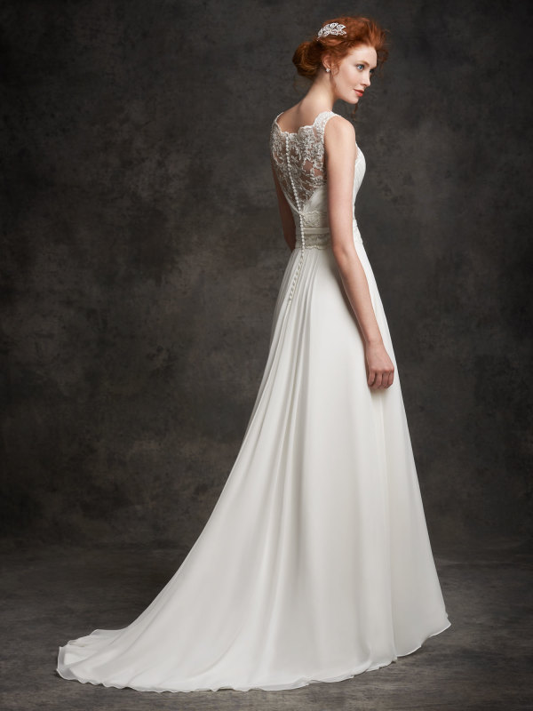 Sleeveless Illusion Neck Lace Bodice A-line Chiffon Wedding Dress with Ribbon