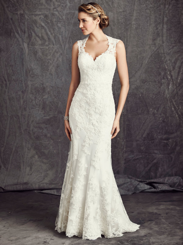 Sheath Wedding Gown Pattern : Wedding dress gt sleeveless v neck lace pattern sheath