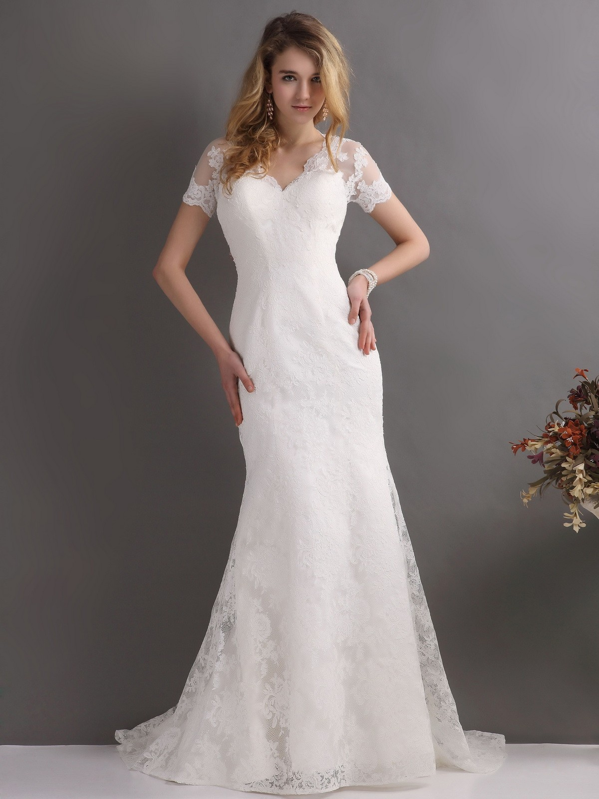 Short Sleeved V Neck Fit Flared Lace Wedding Dress with Buttons Back