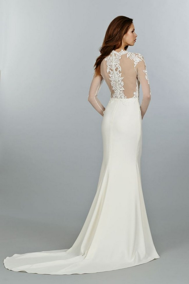 Jewel Neck Illusion Long Sleeved Sheath Chiffon Wedding Dress with Lace Appliques