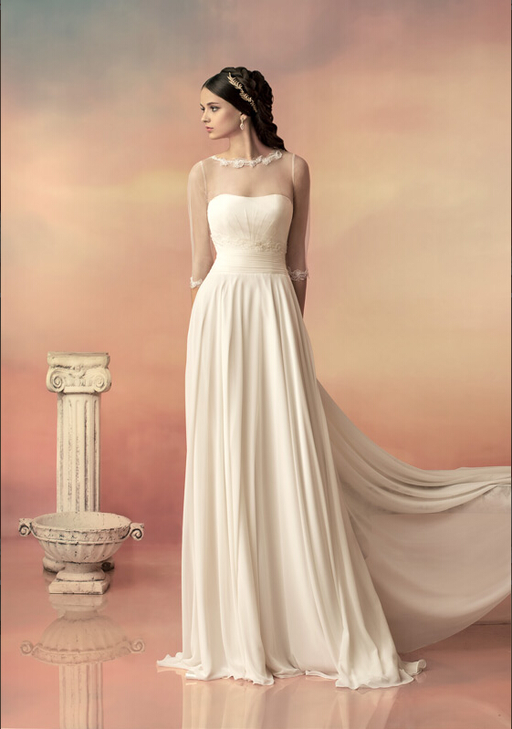 Elegant Illusion 3/4 Sleeved A-line Chiffon Wedding Dress with Lace Appliques