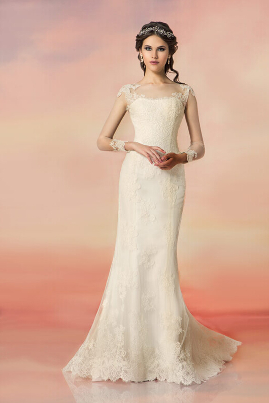 Glamour Bateau Illsuion Neck Lace Appliques Trumpet Lace Wedding Dress with Long Sleeves