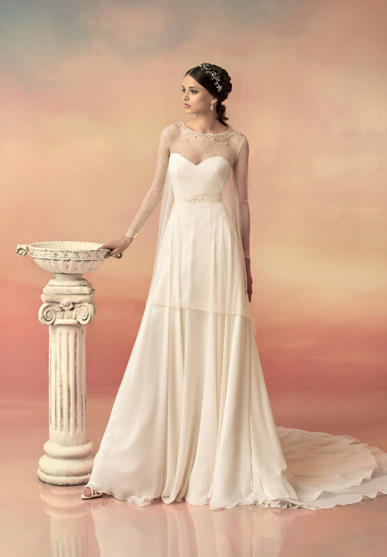 Long Sleeved Jewe Neck Wrap Style A-line Chiffon Wedding Dress with Beading