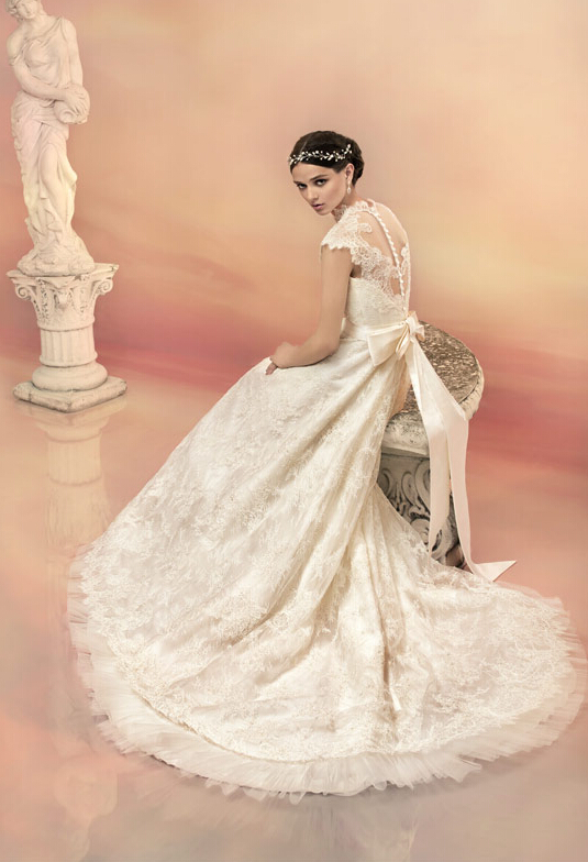 High Neck Cap Sleeved All over Lace Pattern A-line Wedding Dress with Buttons Back