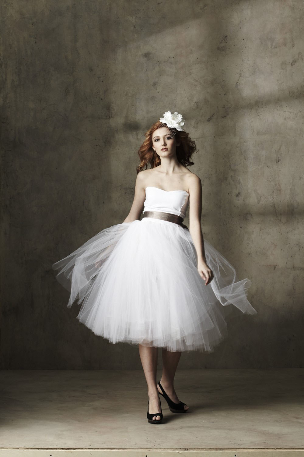 Lovely Strapless Slim Satin Bodice Tiered Tulle Tea Length Wedding Dress with Ribbon