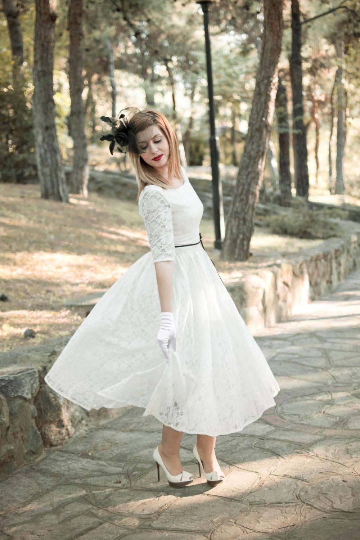 Gorgeous Half Sleeved Tea Length Short Wedding Dress With Black Sash