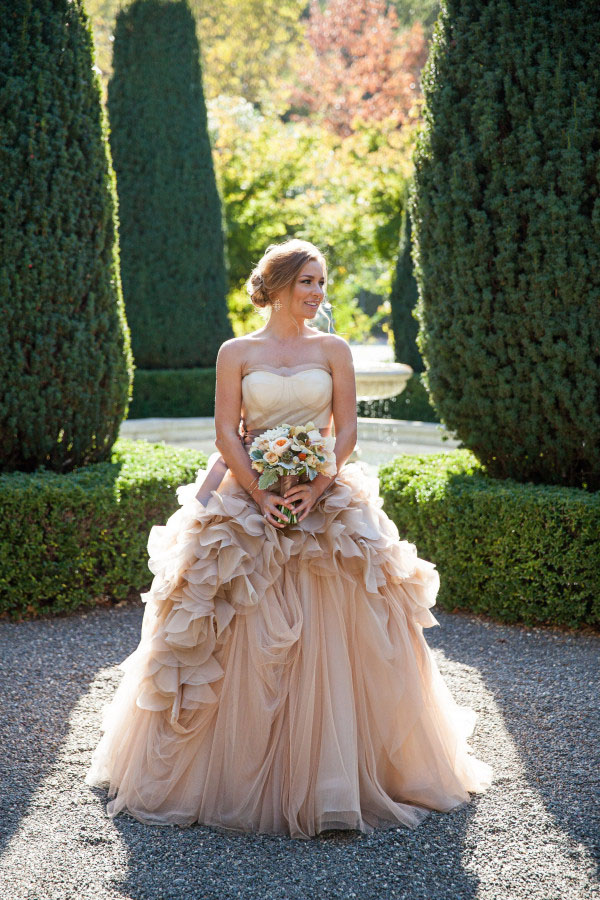 Gorgeous Strapless Sweetheart Tiered Ruffled Ball Gown Champagne Wedding Dress with Ribbon