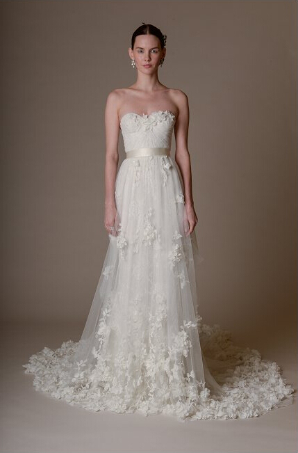 Lovely Strapless Sweetheart Hand Made Flowers Pattern A-line Tulle Wedding Dress