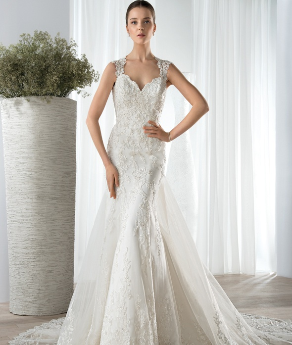 Amazing Shoulder Straps Lace Pattern Tulle Wedding Dress