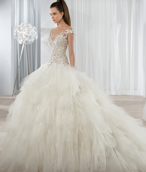 Illusion Bateau Neck Lace Bodice Ball Gown Ruffled Tulle Wedding Dress
