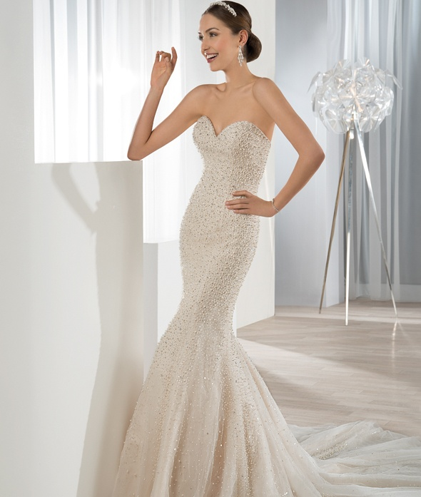 Sparkling Sequin Beaded All Over Mermaid Wedding Dress _1