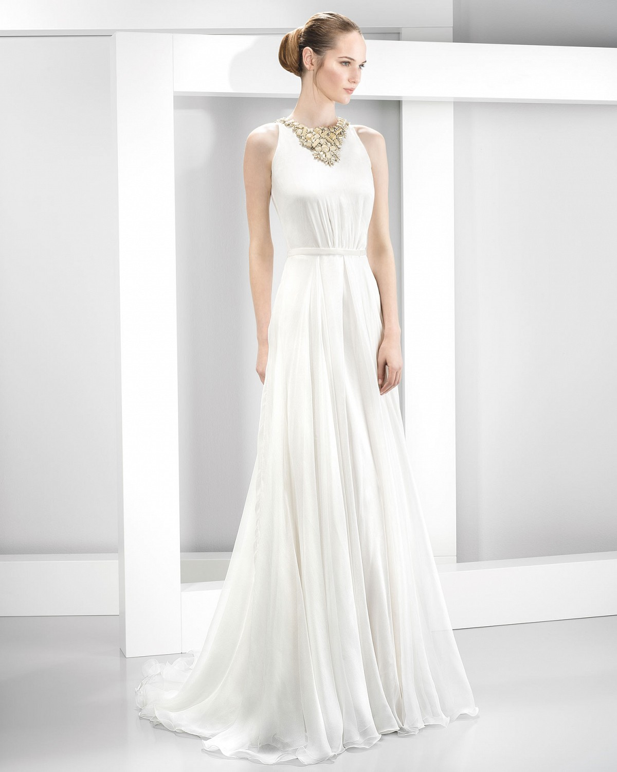 Sleeveless Beaded Neck A-line Stretch Satin Wedding Dress
