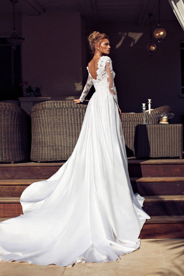 Sheath Wedding Gown Pattern : Neck floral lace pattern sheath wedding dress with long sleeves