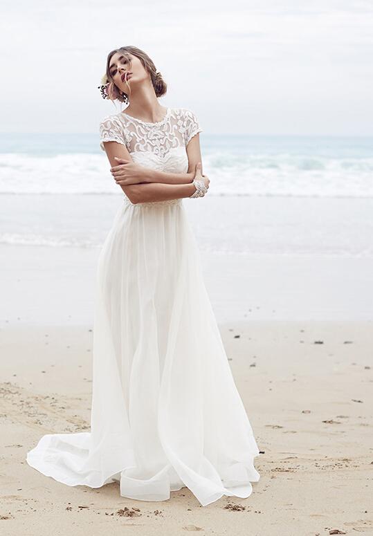 Vinatge Lace Top Bateau Neck Long Chiffon Wedding Dress _1