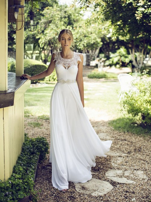 Boho Scoop Neck Lace Trimmed A-line Chiffon Wedding Dress with Cap Sleeves