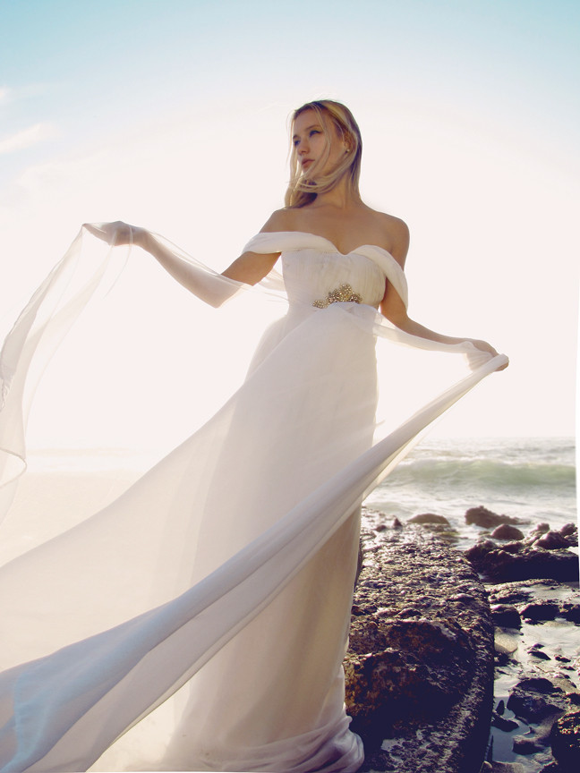 Off the Shoulder Pleated Bodice A-line Chiffon Wedding Dress with Crystal