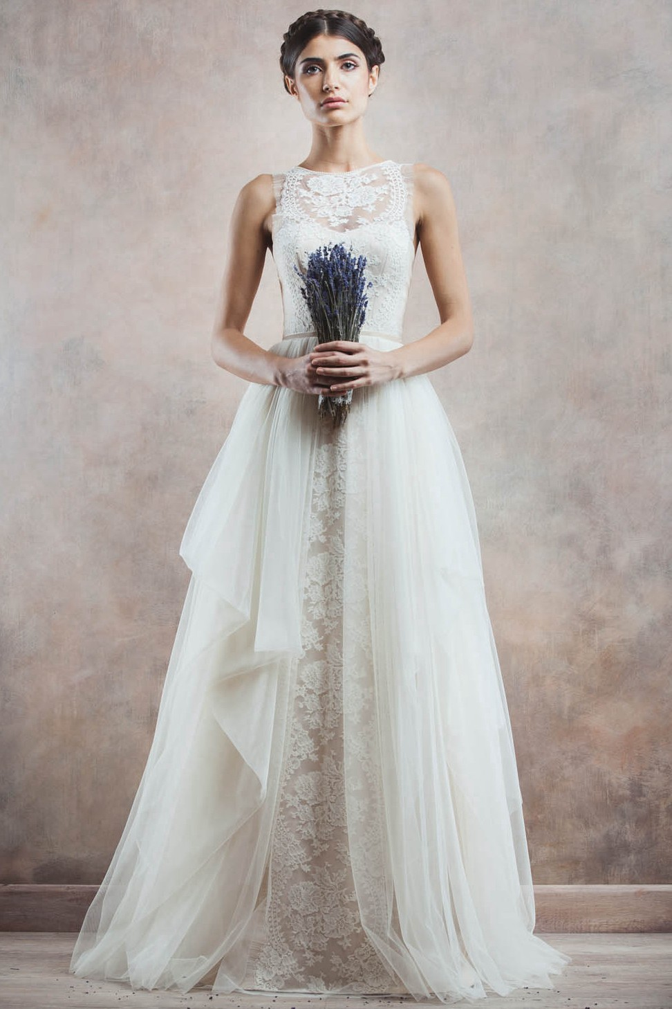 Wedding Dresses With Illusion Bodice : Sleeeveless illusion neck lace bodice ball gown cascaded