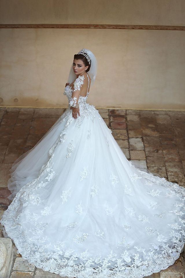 Lace Embroidered Bodice Illusion Neck High Low Ball Gown Tulle Wedding Dress with Sheer Long Lace Sleeves