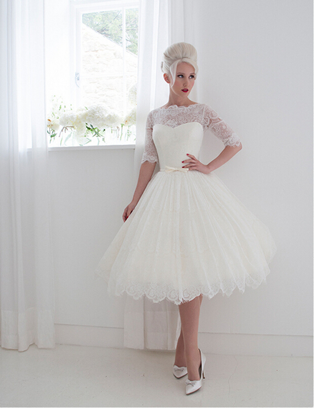 Half Sleeved Ball Gown Lace Wedding Dress With Ribbon