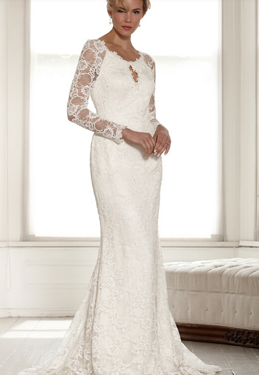 Scoop Neck Sheath Lace Pattern Long Wedding Dress with Keyhole Back