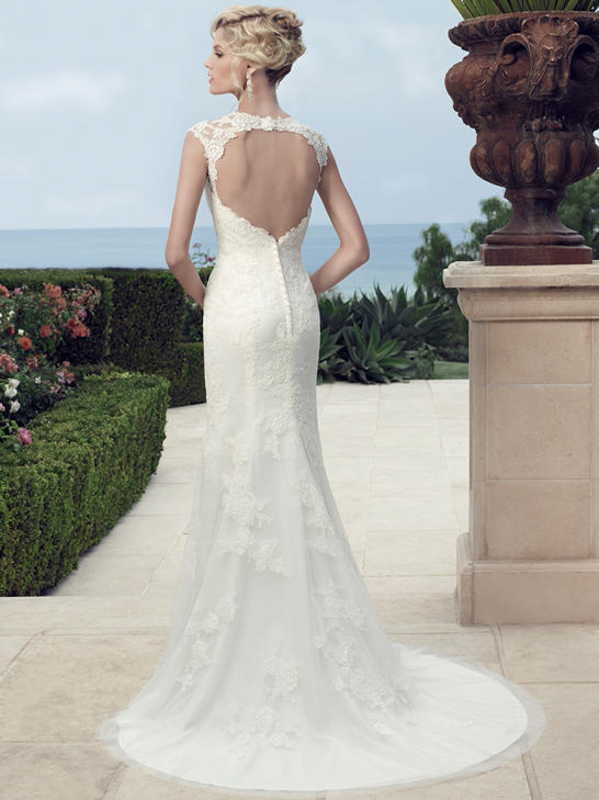 Cap Sleeved Bateau Neck Sheath Lace overlay Tulle Backless Wedding Dress with Keyhole Back