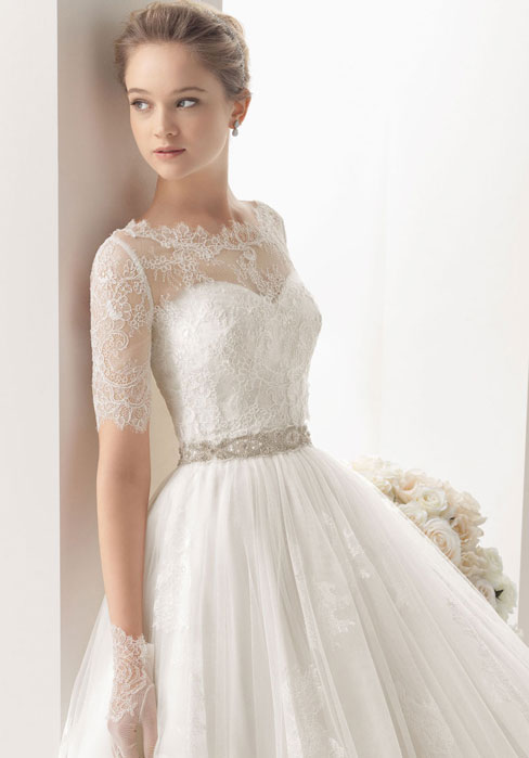 Off the Shoulder Lace overlay Tulle Detachable Cloak Simple Weddin Dress with Crystal Belt