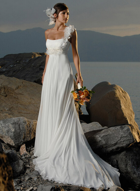 Strapless Ruched Bodice Empire Long A-line Chiffon Wedding Dress with Hand Made Flowers