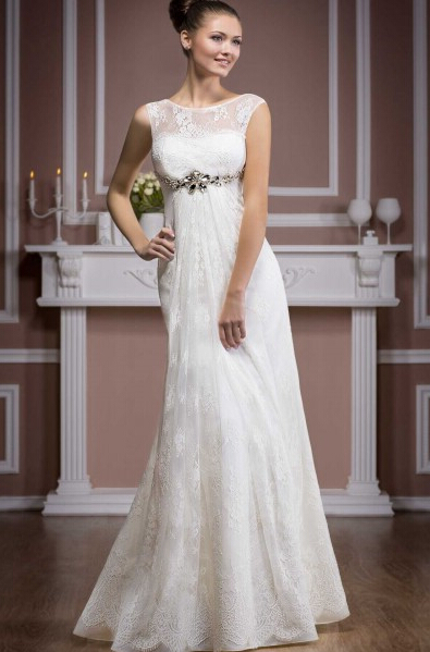 Empire Bateau Neck Lace Trimmed Tulle Wedding Dress with Crystal