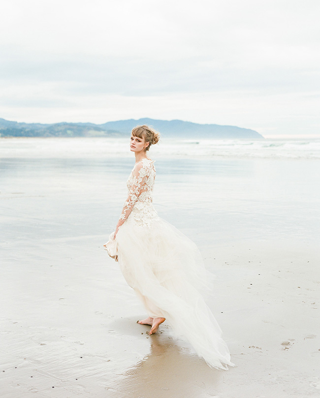 3/4 Long Sleeved Floral Lace Trimmed Tulle Coast Wedding Dress