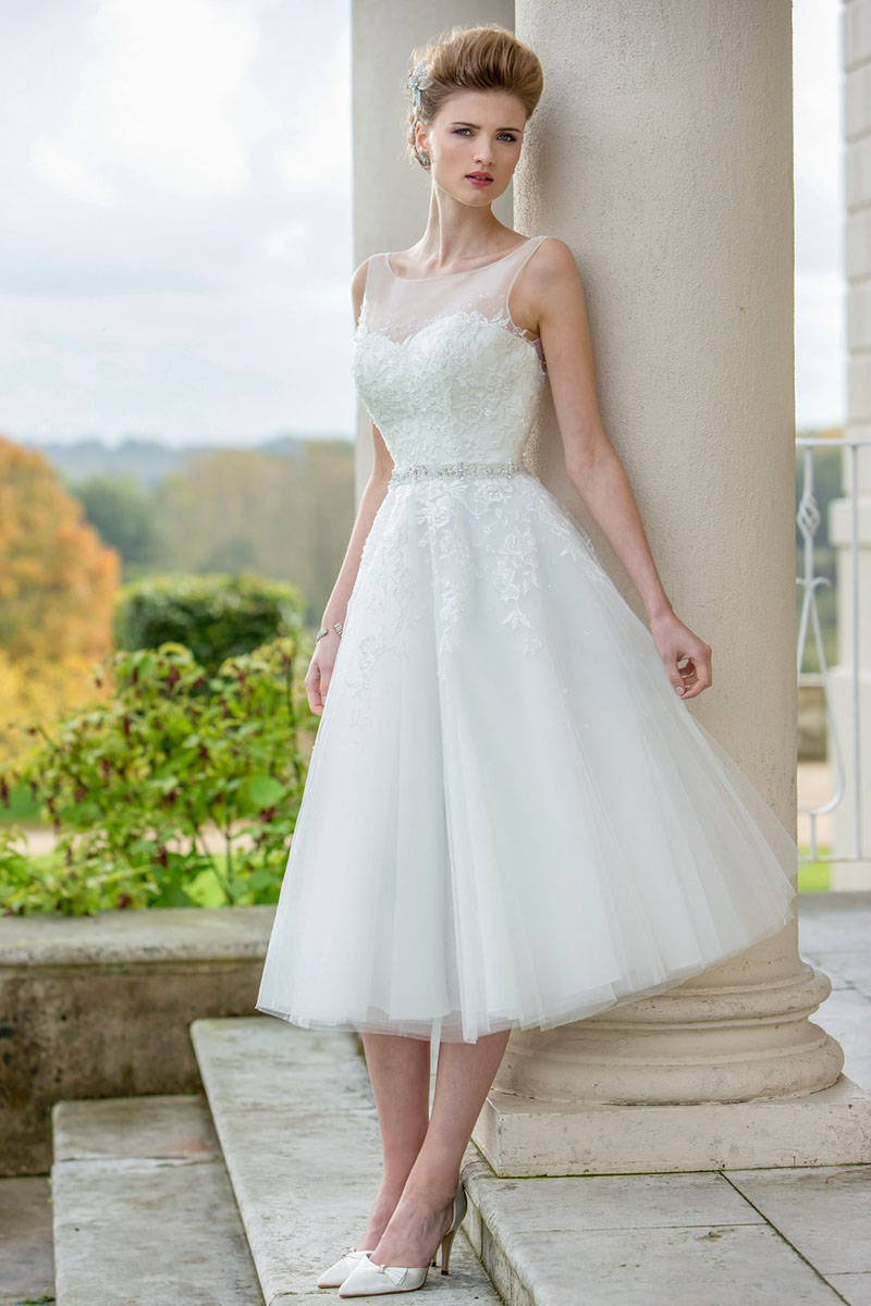 Sleeveless Illusion Neck Lace Bodice A Line Tea Length Tulle Wedding Dress With Belt